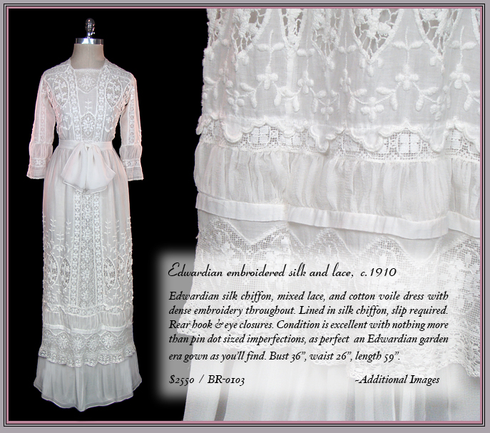 Antique embroidered Edwardian wedding dress