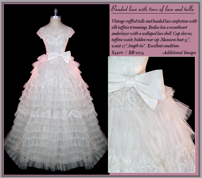 Vintage 1950s Christian Dior ruffles and lace wedding gown