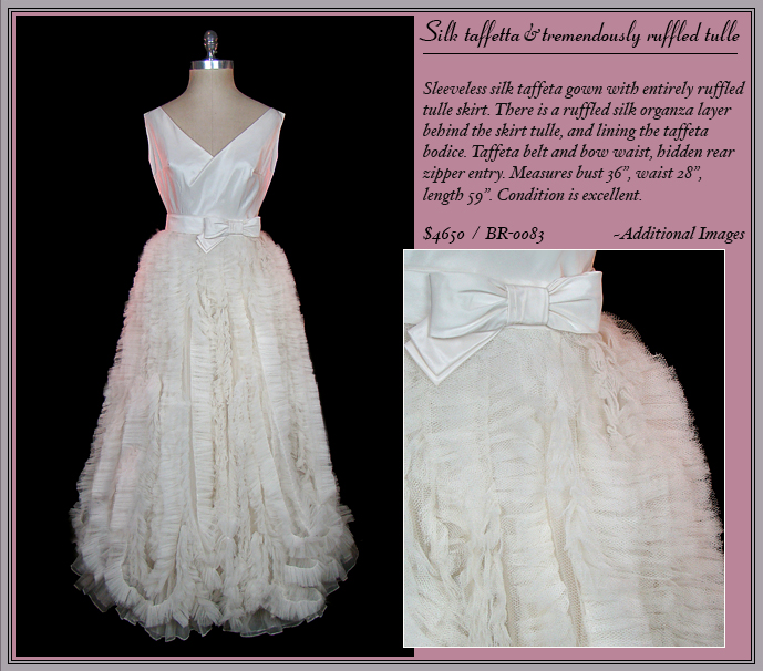 Vintage 1950s Christian Dior taffeta and tulle wedding dress