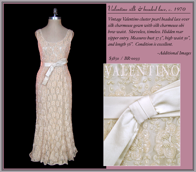 Couture vintage Valentino beaded lace wedding dress