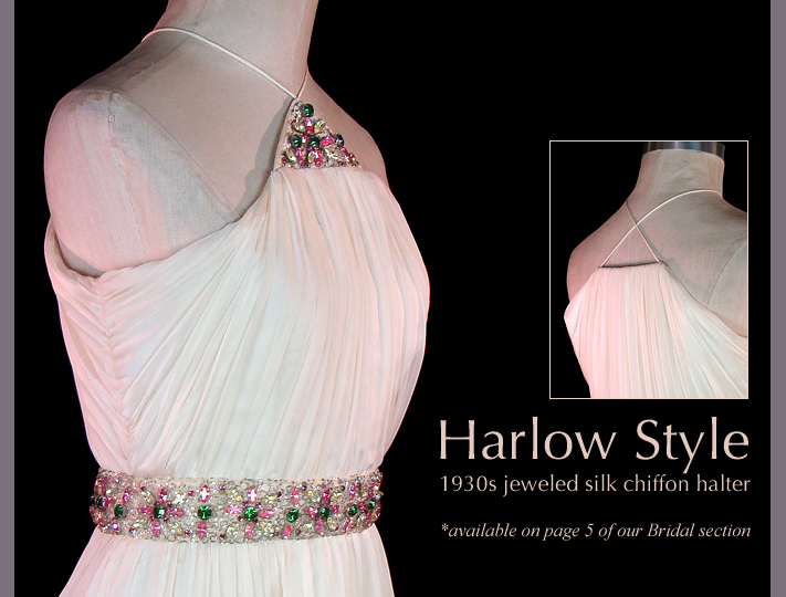 Vintage 1930s Jeweled Chiffon Wedding Dress
